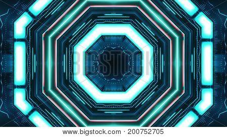Geometric Hud Interface In A Kaleidoscope Illustration