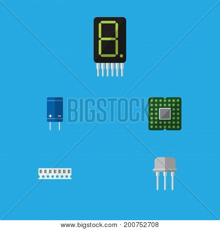 Flat Icon Electronics Set Of Memory, Unit, Calculate And Other Vector Objects