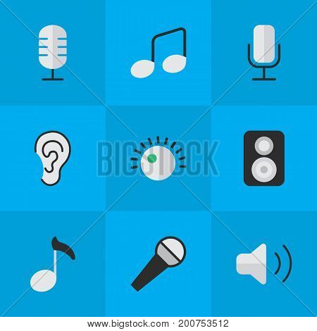 Elements Record, Regulator, Mike And Other Synonyms Regulator, Hear And Microphone.  Vector Illustration Set Of Simple Melody Icons.