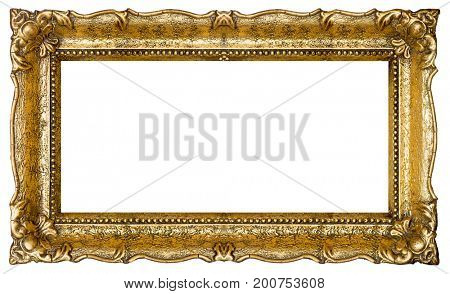 Very Big Old Gold picture frame, isolated on white - extra large file and quality - 33mpx