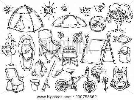Doodle sketch. Set of children's trekking in the forest fishing picnic. Vector Illustration. Tent backpack bicycle chair umbrella fishing rod sleeping bag compass. Summer holiday eps.10