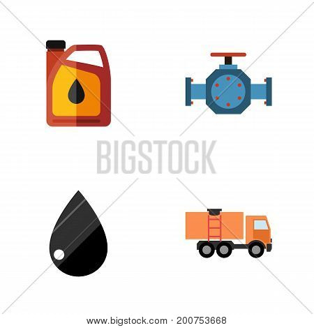 Flat Icon Fuel Set Of Jerrycan, Droplet, Flange And Other Vector Objects