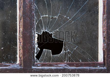 Broken Window Glass In Close-up