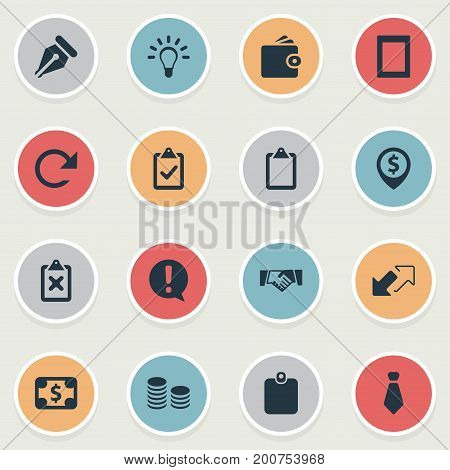 Elements Complete Mark, Lamp, Pinpoint And Other Synonyms Caution, Light And Sign.  Vector Illustration Set Of Simple Business Icons.