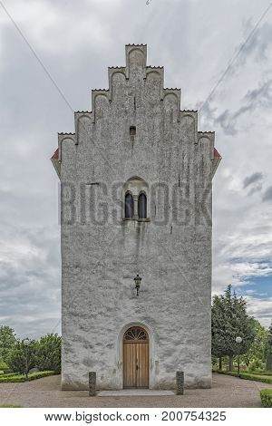 The white stone church at Borgeby in the Skane region of Sweden.
