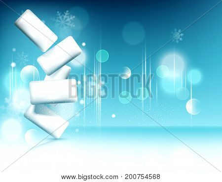 Chewing gum on background of snowflakes and bokeh. Element for modern design, advertising for sales, template brochures, flyers. Realistic 3d illustration.