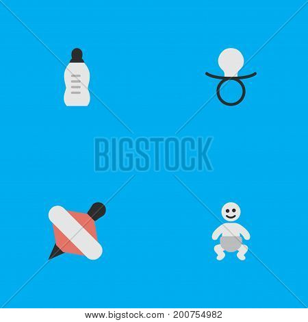 Elements Nipple, Vial, Yule And Other Synonyms Children, Child And Nipple.  Vector Illustration Set Of Simple Kid Icons.