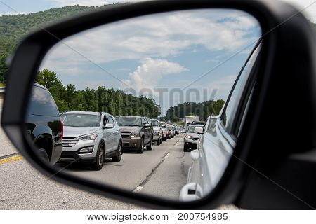 Franklin NC; August 21 2017: Traffic on US 441 South After 2017 Eclipse