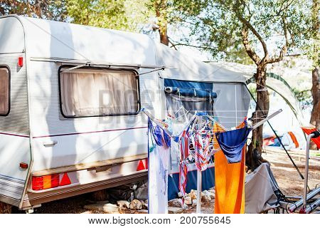 Picture of camper vans by the Adriatic Sea in Trogir's camping place Croatia