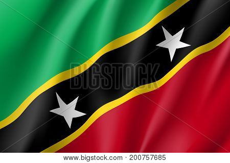 Flag Saint Kitts realistic icon. State insignia of the nation in realistic style on the entire page. Waving state flag. National symbol in the form of a vector illustration