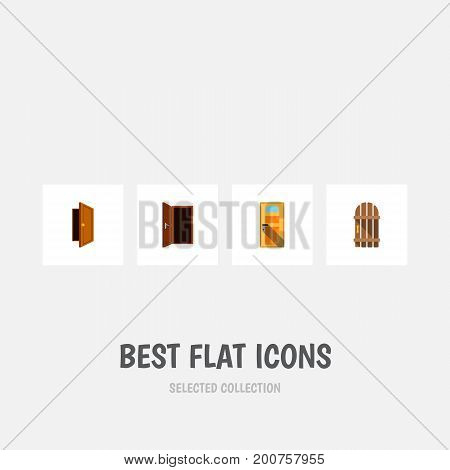 Flat Icon Approach Set Of Entry, Approach, Wooden Fence And Other Vector Objects
