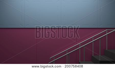 Modern wall with complimentary color and stair