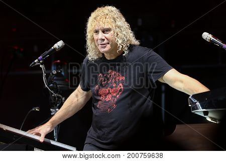 ENDICOTT, NY-Aug 18: David Bryan of Bon Jovi performs in concert at En-Joie Golf Course on August 18, 2017 in Endicott, New York.