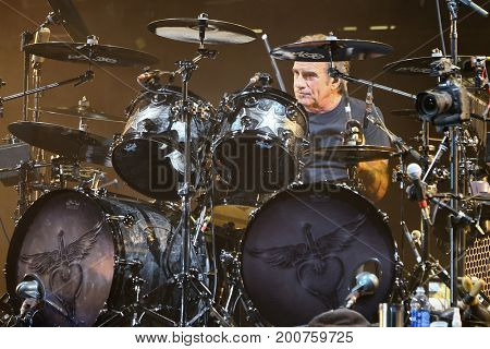 ENDICOTT, NY-Aug 18: Tico Torres of Bon Jovi performs in concert at En-Joie Golf Course on August 18, 2017 in Endicott, New York.