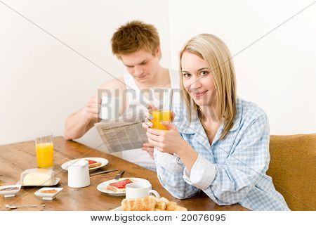 Breakfast Happy Couple Enjoy Fresh Morning