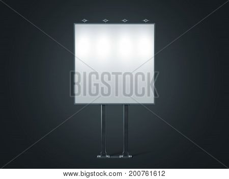 Blank white banner mockup on square city billboard at night 3d rendering. Empty bill board mock up isolated. Clear light canvas on street sign. Outdoor poster screen. Big illuminated cityboard signage poster