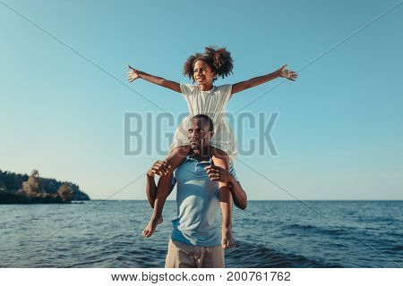 African American Father Carrying Daughter On Beach