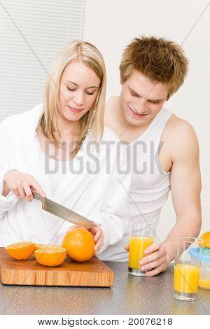 Breakfast Happy Couple Make Orange Juice Morning
