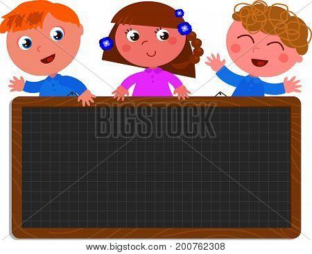 Cute kids with empty black chalkboard. Cartoon vector illustration