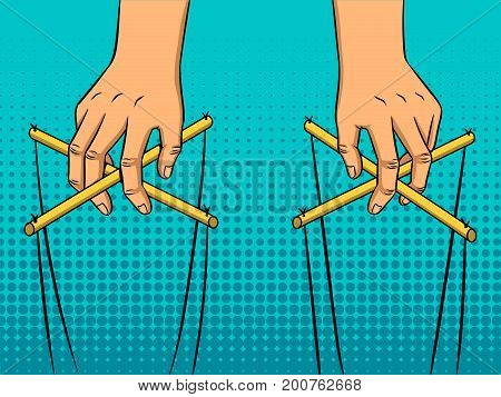 Puppeteer hands pop art style vector illustration. Comic book style imitation
