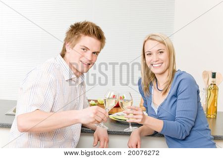 Celebration Happy Romantic Couple Enjoy White Wine