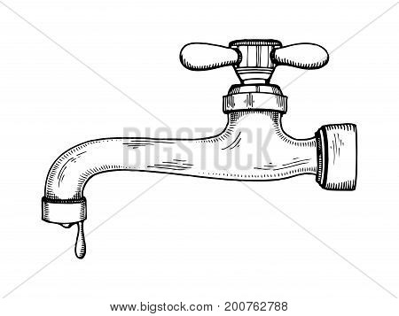 Water tap with drop engraving vector illustration. Scratch board style imitation. Hand drawn image.