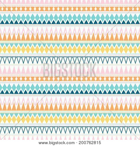 Abstract vector seamless pattern with stripes and triangles in summer colors for clothing and scrapbooking