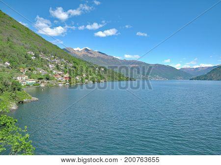 idyllic Lake Maggiore in Ticino Canton near Locarno,Switzerland
