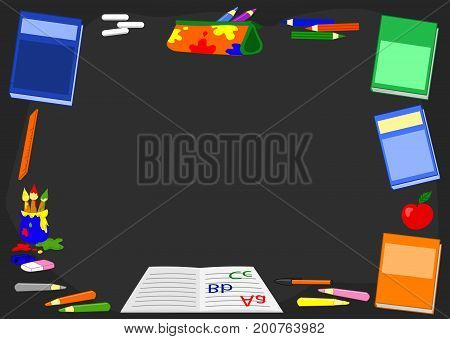 Black chalkboard with books, crayons and blank space for your text, cartoon vector illustration