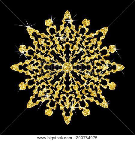 Golden Snowflake On Black