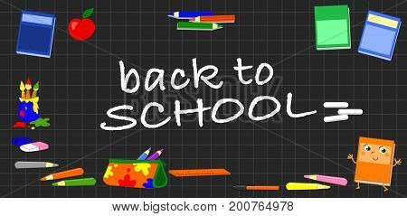 Black chalkboard with squares and the text back to school, cartoon vector illustration