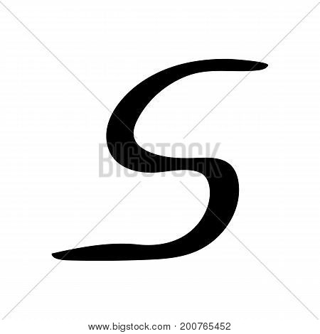 Capital letter S painted by brush isolated on white background