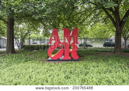 Washington DC, United States of America - August 6, 2017 - National Gallery of Art Sculpture Garden