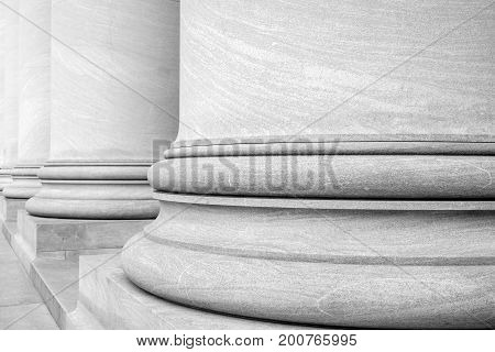 Black and White Photograph of Columns of a Gallery