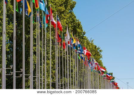 Outdoors Park Area International Flag Display Blue Sky Background