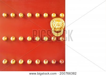 Traditional Chinese Door With Gold Lion