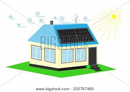 Energy-saving or Energo-passive house. Alternative energy resources. Vector
