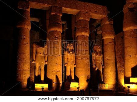 EGYPT, January 15, 2005: Night view of an Ancient temple in Luxor, Thebes, UNESCO World Heritage Site, Egypt, North Africa, Africa