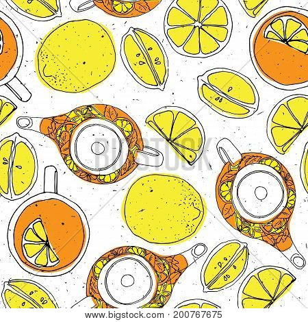 Tea hand draw seamless pattern with teapot, lemons and cup. Sketched textured background in retro style, vintage elements