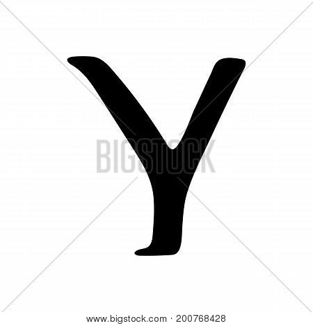 Capital letter Y painted by brush isolated on white background