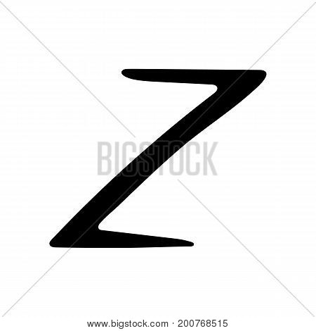 Capital letter Z painted by brush isolated on white background