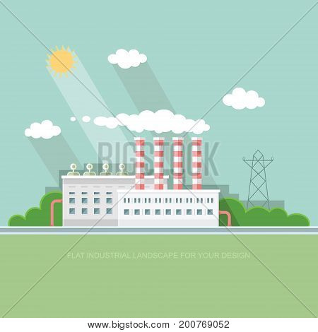 Flat waste incineration plant exterior with City in the background. Building workers. recycling nature care alternative resource incinerator concept. Vector background illustration