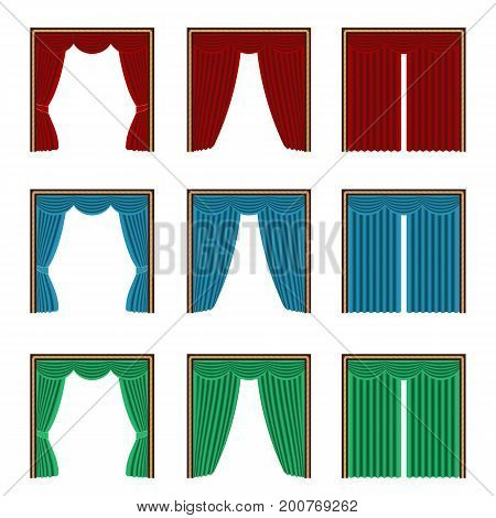 Realistic curtain asset for interior scene. Vector illustration