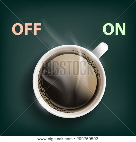Cup of coffee with a switch. Energy and cheerfulness. Stock vector illustration.