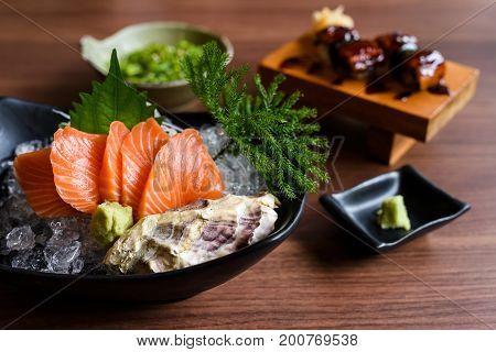 Salmon Sashimi And Eel Sushi