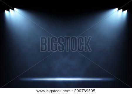 Six side spotlights illuminating empty stage background. Raster illustration lightning template.