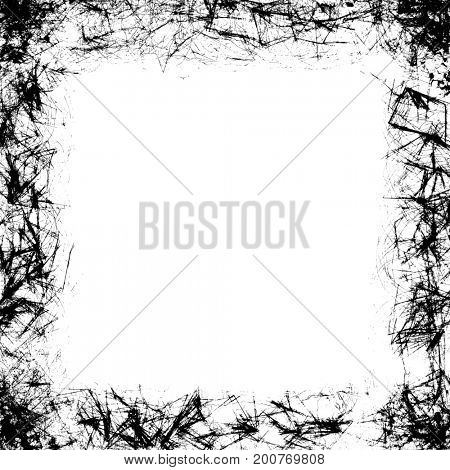 Grunge frame black and white texture. Design element to reproduce an aged effect.