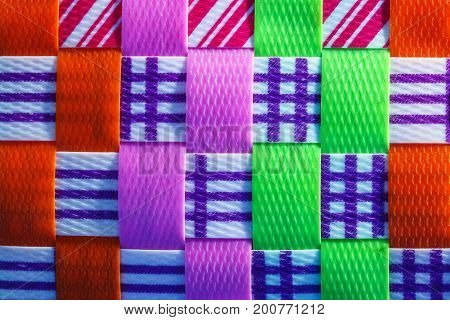Background texture colorful with plastic Hands craft work basketry