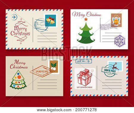 Xmas postcard template set. Vector vintage merry christmas holiday postal cards