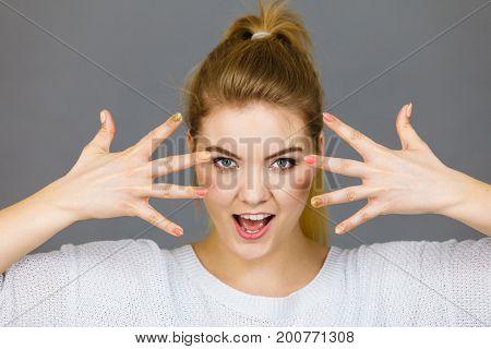 Happy Woman Showing Her Hands